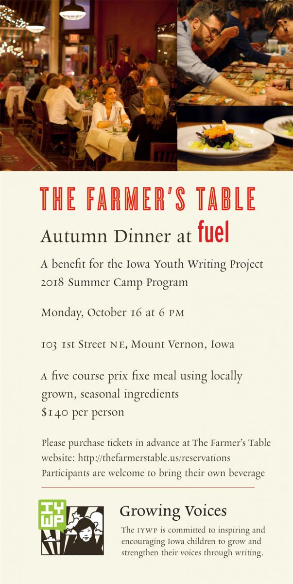 The Farmers Table Autumn Dinner At Fuel To Benefit The IYWP Iowa - Farmers table reservation