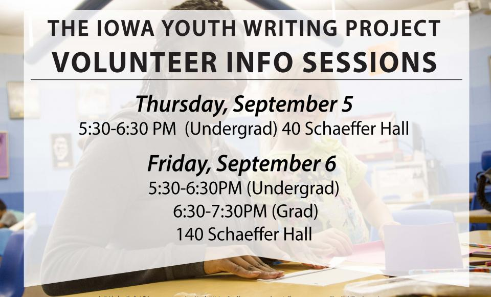 Volunteer Info Sessions 9/5 and 9/6