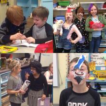 Kids are writing and performing plays with fun props.