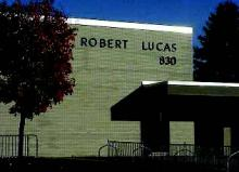 Exterior of Lucas Elementary with trees in fall
