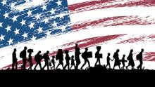 The graphic shows silhouttes of people carrying boxes and bags, with an American flag behind.